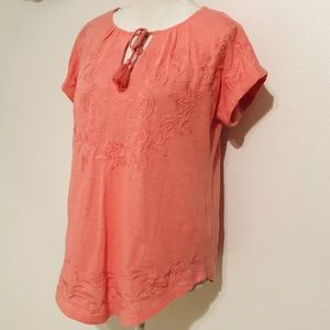 LUCKY BRAND BOHOO STYLE EMBROIDERED TOP
